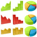 3D business graph icons. Isolated on white background. Vector illustration Royalty Free Stock Photography