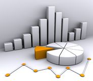 3d business graph. 3d Illustration of business graph Royalty Free Stock Photo