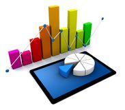 3d business graph. 3d Illustration of business graph Stock Photo