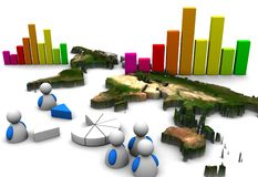 3d business graph. 3d Illustration of business graph Stock Photos