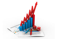 3d business graph. 3d illustration of business graph and documents Royalty Free Stock Photography