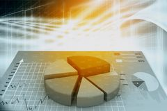 3d business graph with pie. On abstract background Stock Photography