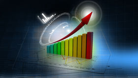 3d business graph. 3d render of business graph background Royalty Free Stock Photo