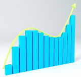 3D Business graph up. 3D Bar Graph growing down and up Stock Photo