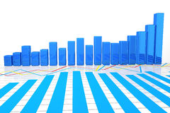 3D Business graph on white bachground Royalty Free Stock Image
