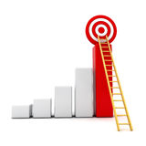 3d business graph with wood ladder to the red target. Business target concept , 3d business graph with wood ladder to the red target over white background Stock Images