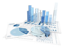 3D business graphs. Business bar and pie charts in 3D blue and white Royalty Free Stock Image