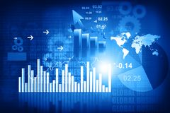 3d Business graphs and charts. Financial background Royalty Free Stock Images