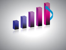 3d business growth bar graph Royalty Free Stock Photo