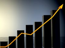 3D business growth chart vector illustration