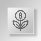 3D business growth icon Business Concept. 3D Symbol Gray Square business growth icon Business Concept Royalty Free Stock Image
