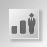 3D business growth icon Business Concept. 3D Symbol Gray Square business growth icon Business Concept Stock Photo