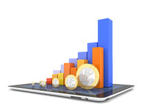 3d business. 3d image of tablet and financial chart Stock Photography