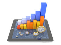 3d business. 3d image of tablet money and financial chart Royalty Free Stock Photos