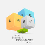 3D Business Infographics layout. 3D colorful Business Infographics layout with web icons and alphabets on grey background Royalty Free Stock Photos