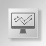 3D Business line Graph icon Business Concept. 3D Symbol Gray Square Business line Graph icon Business Concept Royalty Free Stock Images