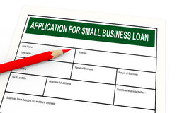 3d business loan application. 3d illustration of red pencil and business loan application Stock Images