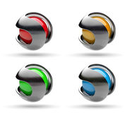 3D Business Logo Series. Metallic Path Around a Spherical Colorful Core 3D Illustration Stock Images