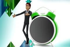 3d  character representing  alarm clock illustration Stock Photos
