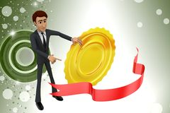 3d  character presenting award winner illustration Royalty Free Stock Images