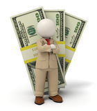 3d business man in beige suit - pack of money. 3d rendered business man in beige suit standing in front of one hundred dollar packs Royalty Free Stock Photos
