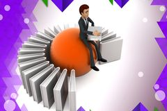 3d business man binder illstration Royalty Free Stock Photo