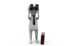 3d business man with binocular and briefcase concept Royalty Free Stock Image
