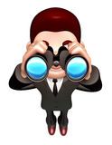 The 3D Business man a binoculars watching. 3D Salesmen Character Royalty Free Stock Photography