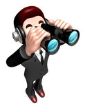 The 3D Business man a binoculars watching Royalty Free Stock Image
