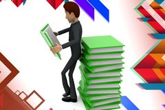 3d  character reading book illustration Stock Images