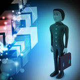 3d business man with briefcase Stock Image