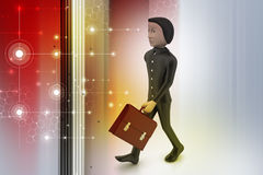 3d business man with briefcase Stock Photography