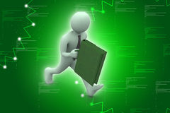 3d business man with briefcase Royalty Free Stock Images