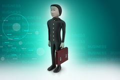 3d business man with briefcase. In color background Royalty Free Stock Photo