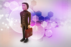 3d business man with briefcase. In color background Stock Images