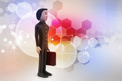 3d business man with briefcase Royalty Free Stock Image
