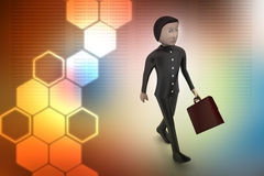 3d business man with briefcase. In color background Royalty Free Stock Images