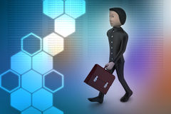 3d business man with briefcase Royalty Free Stock Photography