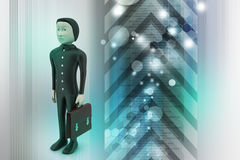 3d business man with briefcase Royalty Free Stock Photos