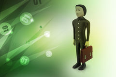 3d business man with briefcase. In color background Stock Photos