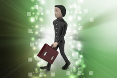 3d business man with briefcase. In color background Stock Photo