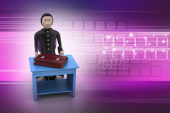 3d business man with briefcase. In color background Royalty Free Stock Photography