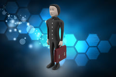 3d business man with briefcase. In color background Royalty Free Stock Photos