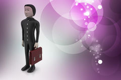 3d business man with briefcase. In color background Royalty Free Stock Image
