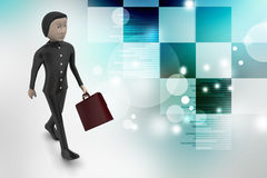3d business man with briefcase. In color background Stock Photography