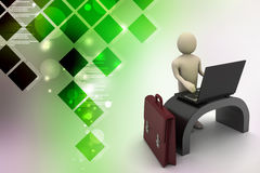 3d business man with briefcase. In color background Stock Image