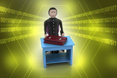 3d business man with briefcase in office. In color background Royalty Free Stock Photo