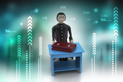 3d business man with briefcase in office. In color background Stock Photo