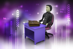 3d business man with briefcase in office. In color background Royalty Free Stock Photos