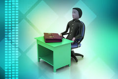 3d business man with briefcase in office. In color background Royalty Free Stock Images